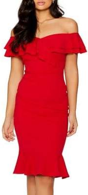 Quiz Bardot Double Frill Flared Dress