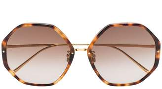 91f0d898f1d Linda Farrow brown tortoiseshell oversized heptagon sunglasses