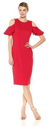 London Times Women's Cold Shoulder Round Neck Midi Scuba Crepe Sheath Dress
