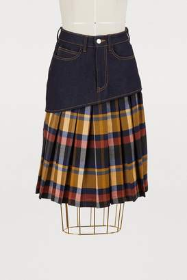 Jour/Né Pleated check print denim skirt