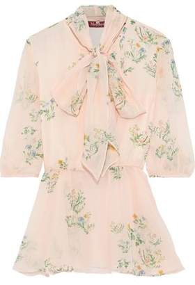 Max Mara Agiate Pussy-bow Floral-print Silk-chiffon Blouse
