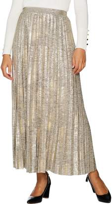 Halston H By H by Regular Foil Printed Pleated Maxi Skirt