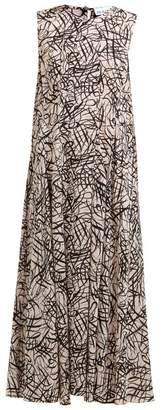 Raey Darted Squiggle Print Silk Dress - Womens - Pink Print