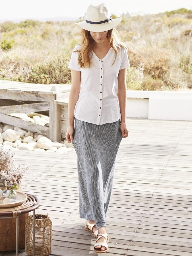 Long Straight Maxi Skirt - ShopStyle Australia