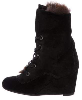 Stuart Weitzman Fur-Lined Suede Ankle Boots