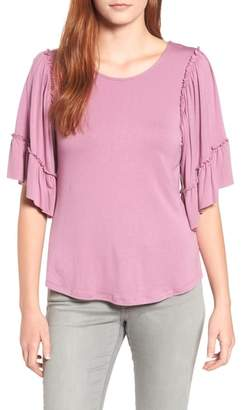 Bobeau Flutter Sleeve Top