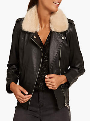 Mint Velvet Faux Fur Aviator Jacket, Black