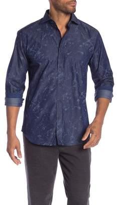 Bugatchi Splatter Long Sleeve Shaped Fit Shirt