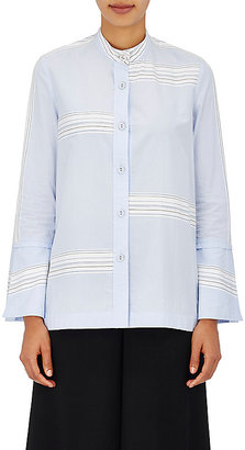 Derek Lam 10 Crosby Women's Striped Cotton Poplin Banded Collar Shirt $395 thestylecure.com