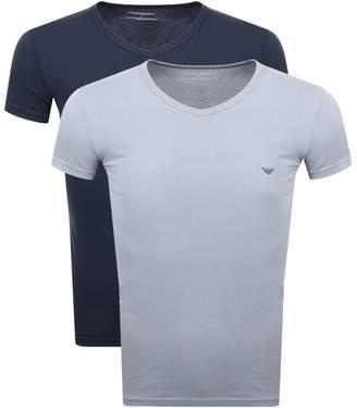 Giorgio Armani Emporio 2 Pack V Neck T Shirts Navy