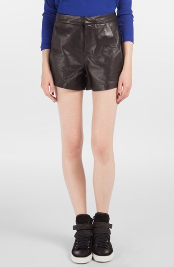 Maje 'Doug' High Waist Leather Shorts