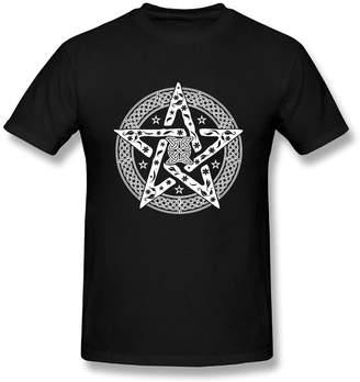 Celtic Vintopia Men's T Shirt Wiccan Knot Pentagram with Floral Pattern