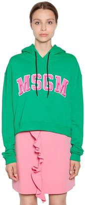 MSGM Hooded Logo Patches Cotton Sweatshirt