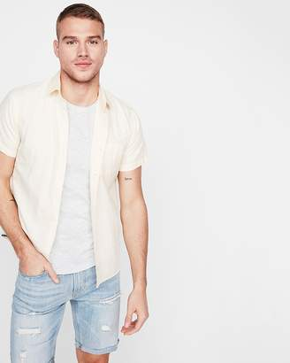 Express Slim Garment Dyed Cotton Short Sleeve Shirt