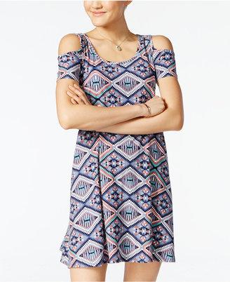 Planet Gold Juniors' Printed Cold-Shoulder Dress $29 thestylecure.com