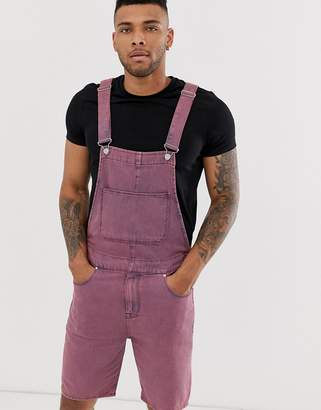 0e9761987b79 Asos Design DESIGN denim dungaree shorts in pink acid wash