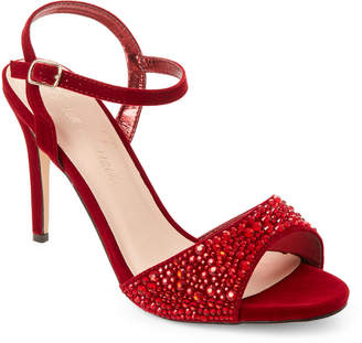 Ralph Lauren Lorraine Red Velvet Studded Strap Pumps