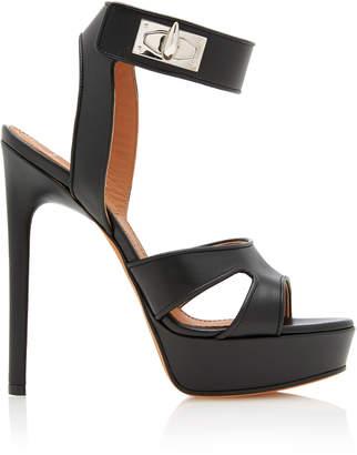 Givenchy Shark Heel Leather Platform Sandals