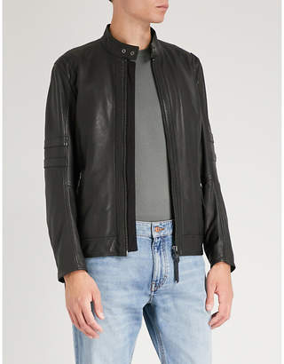 BOSS ORANGE Stand-collar leather biker jacket