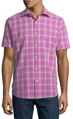 Neiman Marcus Plaid Seersucker Short-Sleeve Sport Shirt