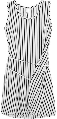 McQ Alexander McQueen - Striped Voile Mini Dress - White $460 thestylecure.com