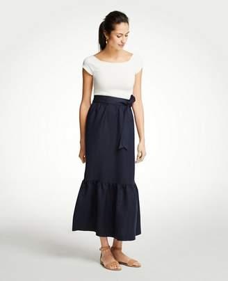 Ann Taylor Petite Tie Waist Flounce Maxi Skirt