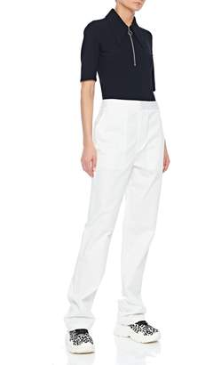 Tibi Structured Crepe Shorts Sleeve Zip-Up Top