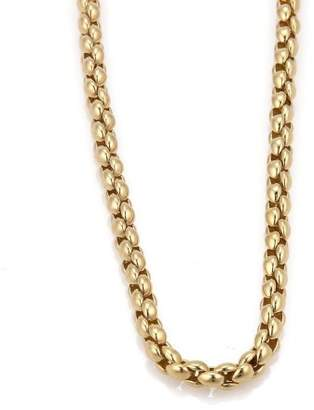 18K Yellow Gold Vintage Rice Woven Link Chain Necklace