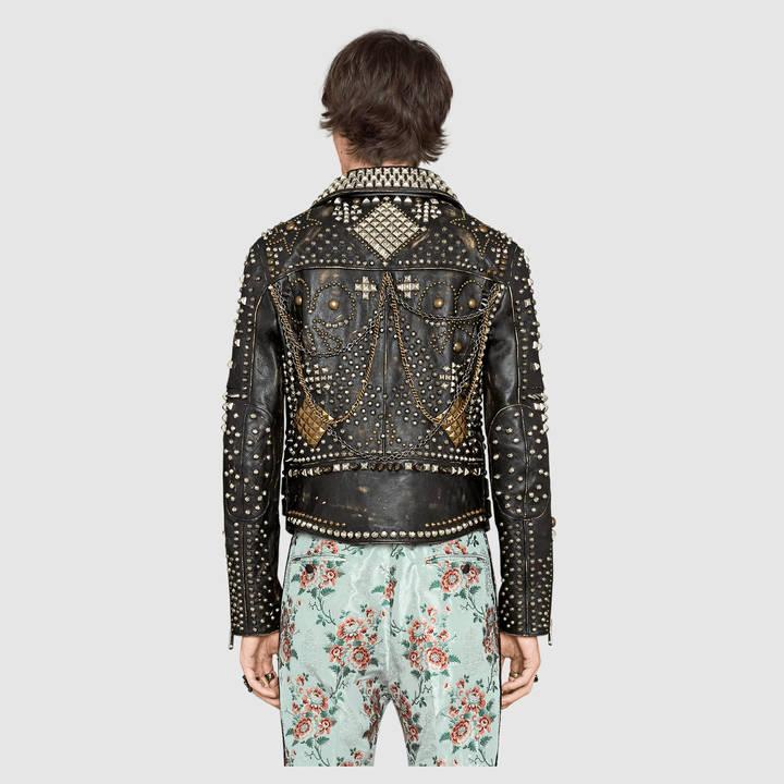 Studded leather biker jacket 8