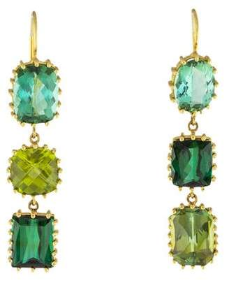 18K Tourmaline & Peridot Earrings