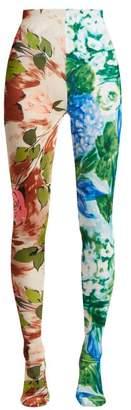 Richard Quinn - Contrasting Rose Print High Rise Velvet Leggings - Womens - Multi