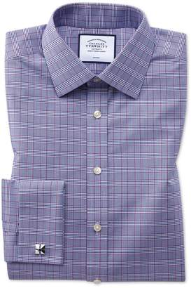 Charles Tyrwhitt Extra Slim Fit Non-Iron Berry and Navy Prince Of Wales Check Cotton Dress Shirt French Cuff Size 14.5/32