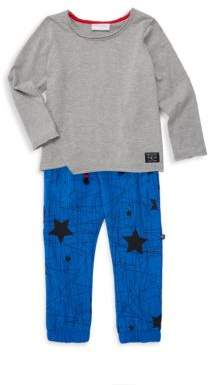 Little Boy's Star Print Two-Piece Tee & Jogger Set