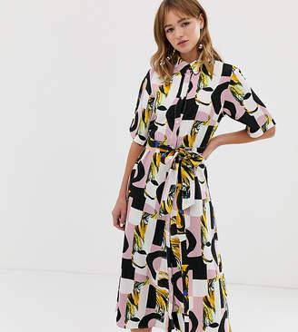 Monki abstract print tie waist midi shirt dress in pink