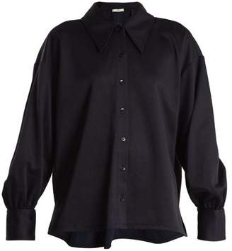 Tibi Sculpted balloon-sleeve piqué shirt