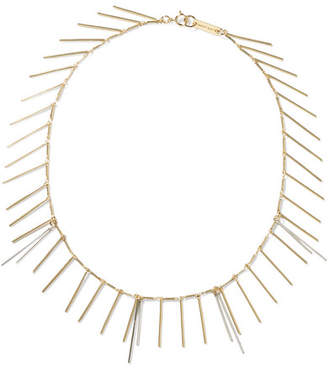 Isabel Marant - Fringed Silver And Gold-tone Necklace $120 thestylecure.com