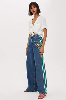 Topshop Rose Side Stripe Wide Leg Jeans