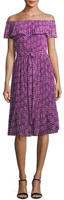 MICHAEL Michael Kors Jewel Off-the-Shoulder Pleated Floral-Print Dress