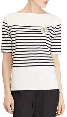 Lauren Ralph Lauren Striped Boat Neck Top