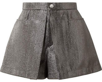 Chloé Pleated Lamé Shorts - Gunmetal