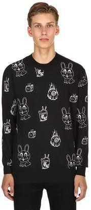 McQ Bunny Sticker Print Cotton Blend Sweater