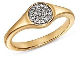 Adina 14K Yellow Gold Pavé Diamond Disc Small Signet Ring