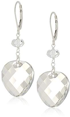 Swarovski Sterling Silver Elements Crystal Golden Shadow Round Twist and Rondelle Drop Earrings