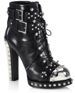 Alexander McQueen Studded Leather Lace-Up Buckle Booties $2,295 thestylecure.com