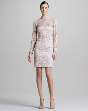 Aidan Mattox Long-Sleeve Lace-Overlay Cocktail Dress