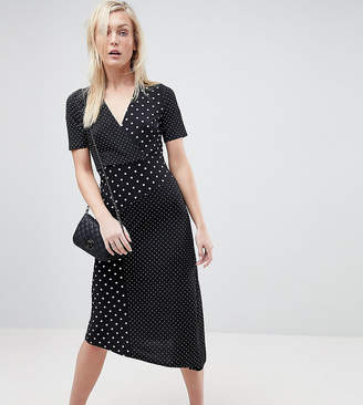 Asos Tall TALL Midi Wrap Dress in Mixed Polka Dot with Asymmetric Hem
