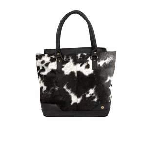 Mahi Leather Pony Hair Leather Florence Tote In Black & White