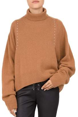 The Kooples Studded Draped Turtleneck Sweater