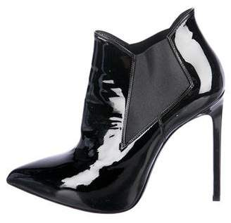 Saint Laurent Patent Leather Pointed-Toe Ankle Boots