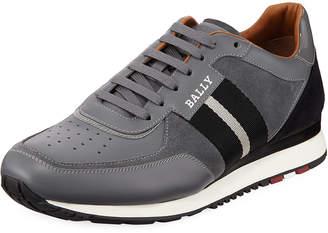 Bally Men's Aston New5 Leather Sneakers w/ Trainspotting Stripe